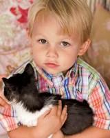 Кошка в доме с ребенком