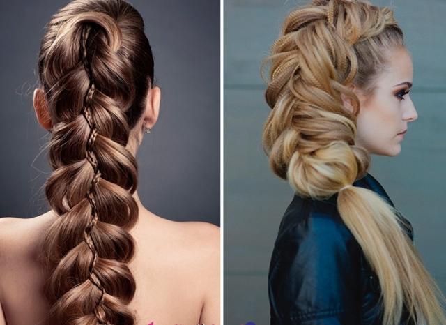 На фото новогодняя прическа для длинных волос с красивым плетением.