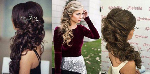 На фото три варианта прически для длинных волос с косой - НГ 2019.