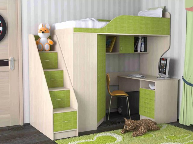 Если комната небольшая, то кровать-чердак будет лучшим вариантом.