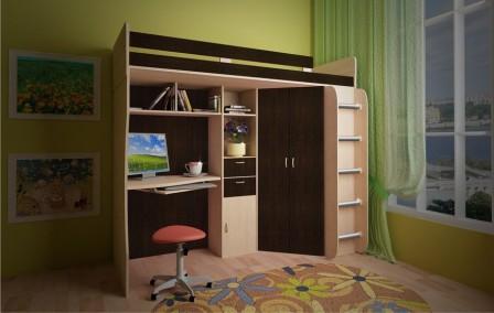 Кровать-чердак с рабочей зоной для ребенка