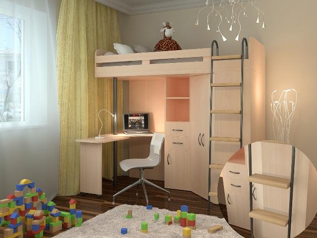 Светлый уголок для ребенка - кровать наверху, рабочая зона внизу.