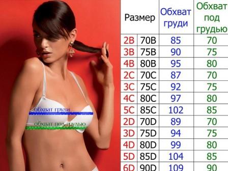 Размеры женского нижнего белья