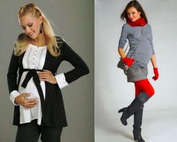 Модная одежда для беременных на весну - контраст