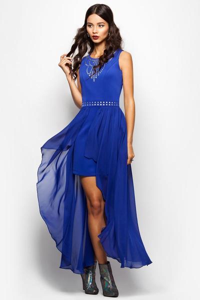 Коктейльное синее платье