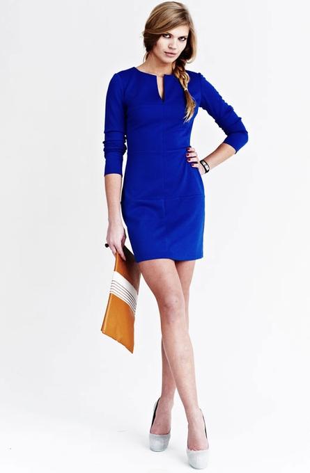 Строгое женское синее платье