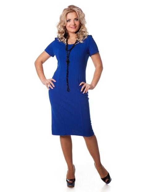 Синее платье для девушки в теле