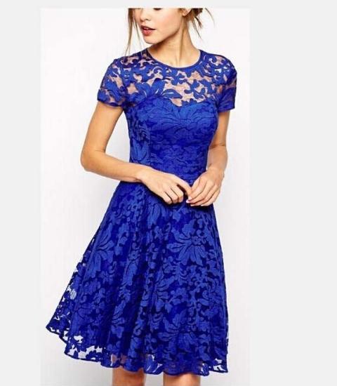 Интересное летнее синее платье