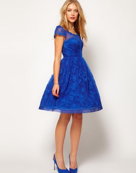 Синее платье где юбка колокол