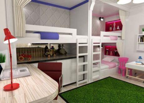 Комната для двух девочек и мальчика