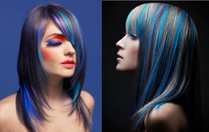 Цветные пряди в темных волосах