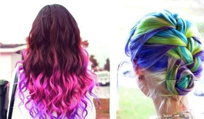Цветные волосы собранные в прическу