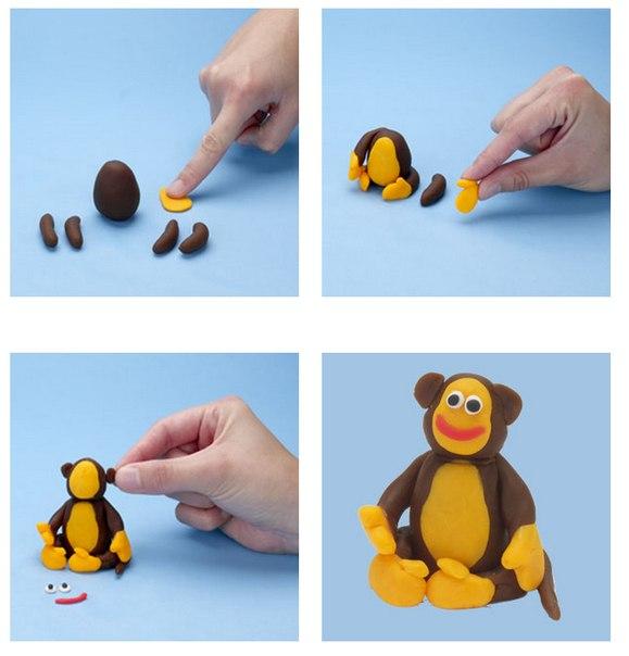 Лепим обезьяну из пластилина
