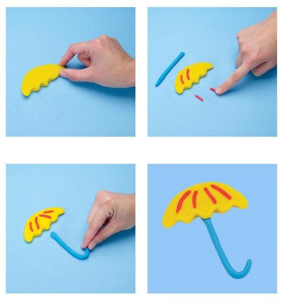 Слепить зонтик из пластилина