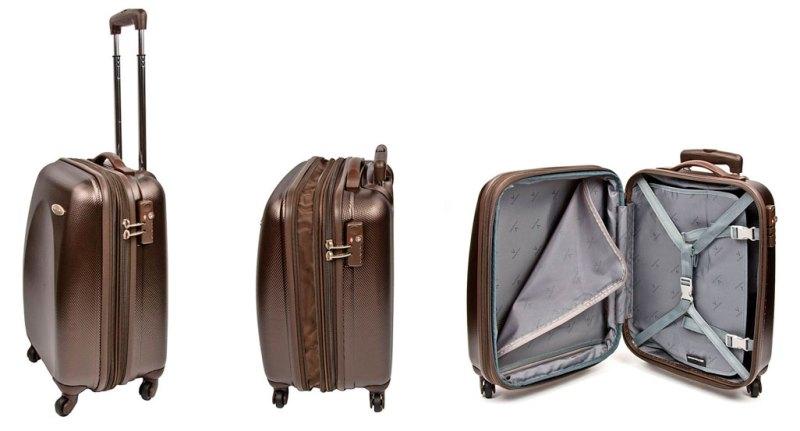 На фото коричневый чемодан: с ручкой, закрытый, раскрытый