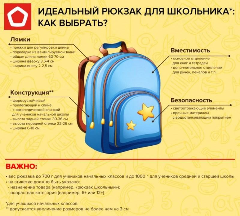 Инфографика показывает на что обращать внимание, при покупке рюкзака для школьника.