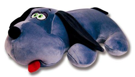 На фото подушка антистресс в виде прикольной собаки